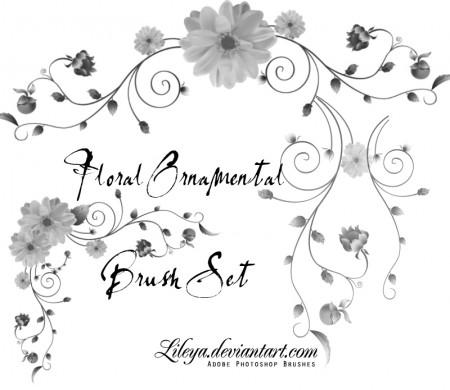Free Floral Ornamental Brush Set