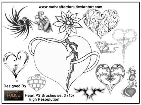 Free Heart brushes set 3