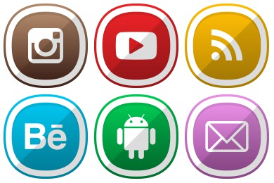 Free Iconset: Free Cute Shaded Social Icons by DesignBolts