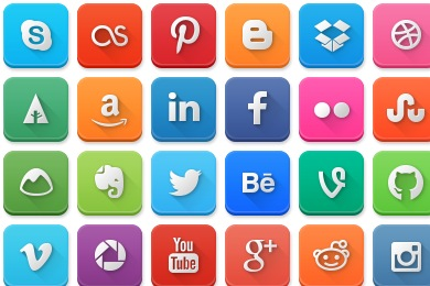 Free Iconset: Modern Social Media Rounded Icons by LunarTemplates