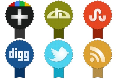 Free Iconset: Badge Social Icons by Land-of-Web