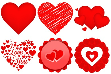 Free Iconset: Free Vector Valentine Heart Icons by DesignBolts