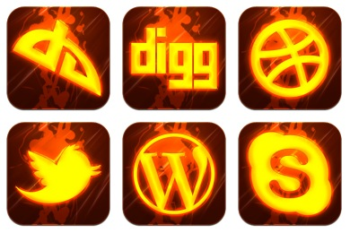 Free Iconset: Hot Burning Social Icons by GraphicsVibe