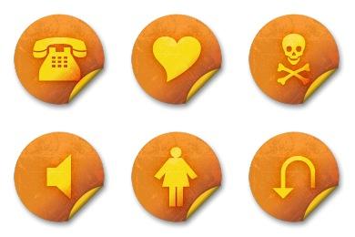 Free Iconset: Orange Grunge Stickers Icons by Mysitemyway.com