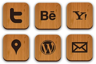Free Iconset: Wooden Social Icons by Creative Nerds