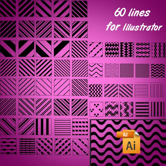 Free Patterns: 60 lines for Illustrator | Shape | Riana