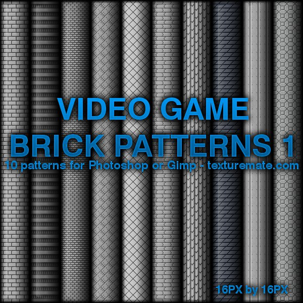 Free Patterns: Video Game Brick Patterns 1 | AscendedArts