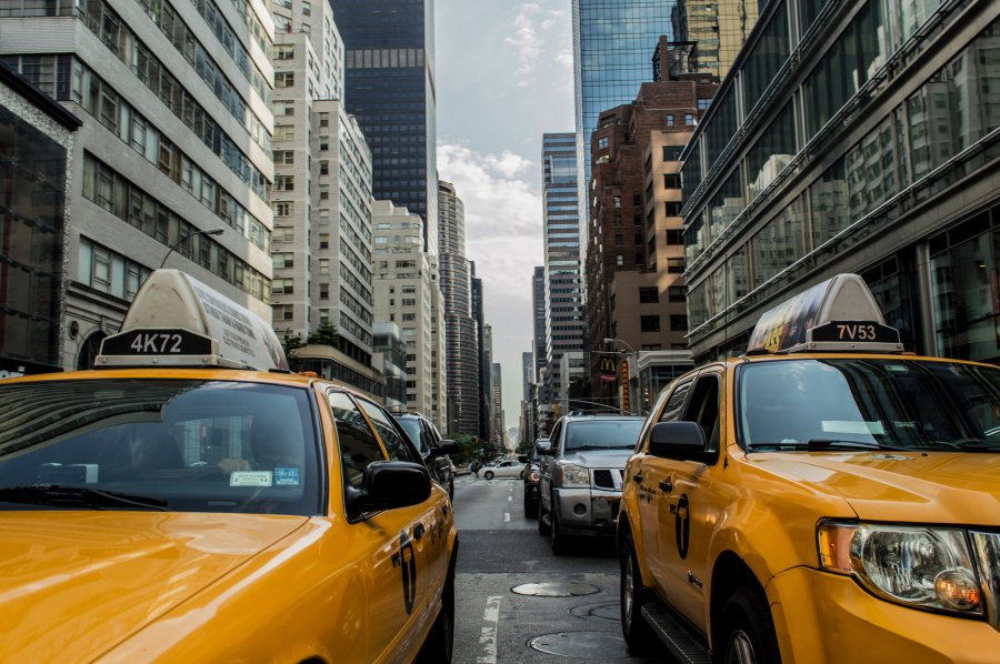 Free Photos: Yellow cabs on a street | Buildings | Andrew Ruiz