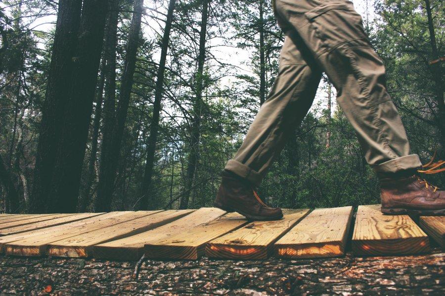 Free Photos: Man walking on a wooden bridge | Nature | Lacey Raper