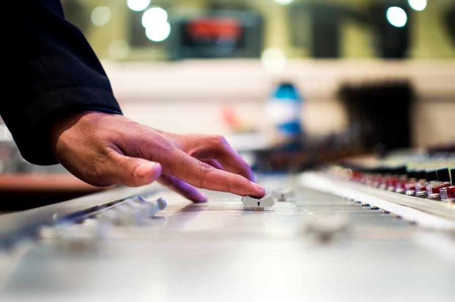 Free Photos: Finger of man on a button in audio studio | Interiors | Drew Patrick Miller