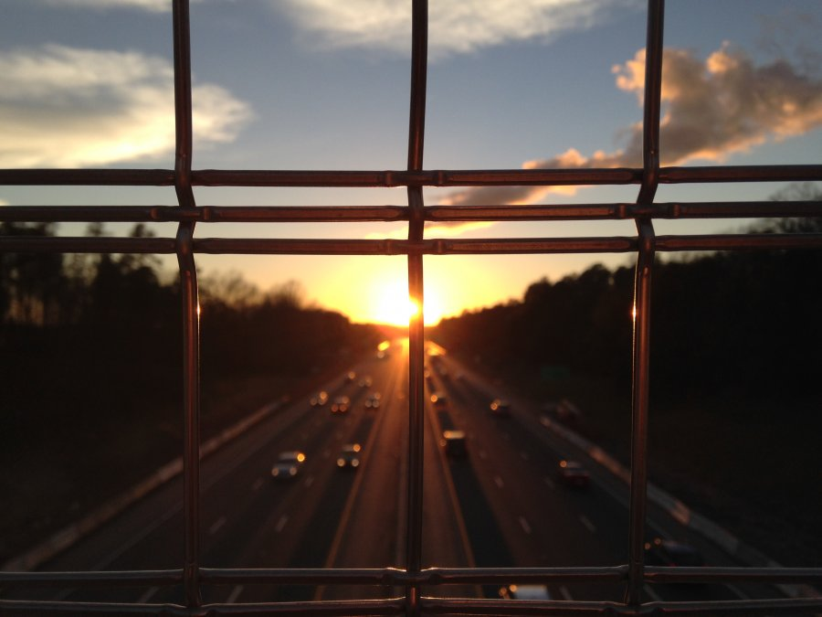 Free Photos: Sunset on the highway seen through the bars | Transportation | Chris Liu-Beers