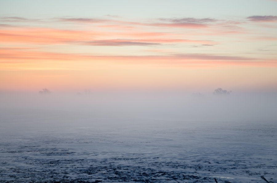 Free Photos: Sunset and fog on frozen ground | Nature | Kelly Sikkema