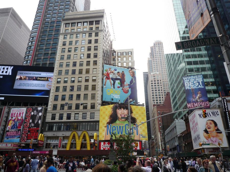 Film and Broadway show billboards at Times Square