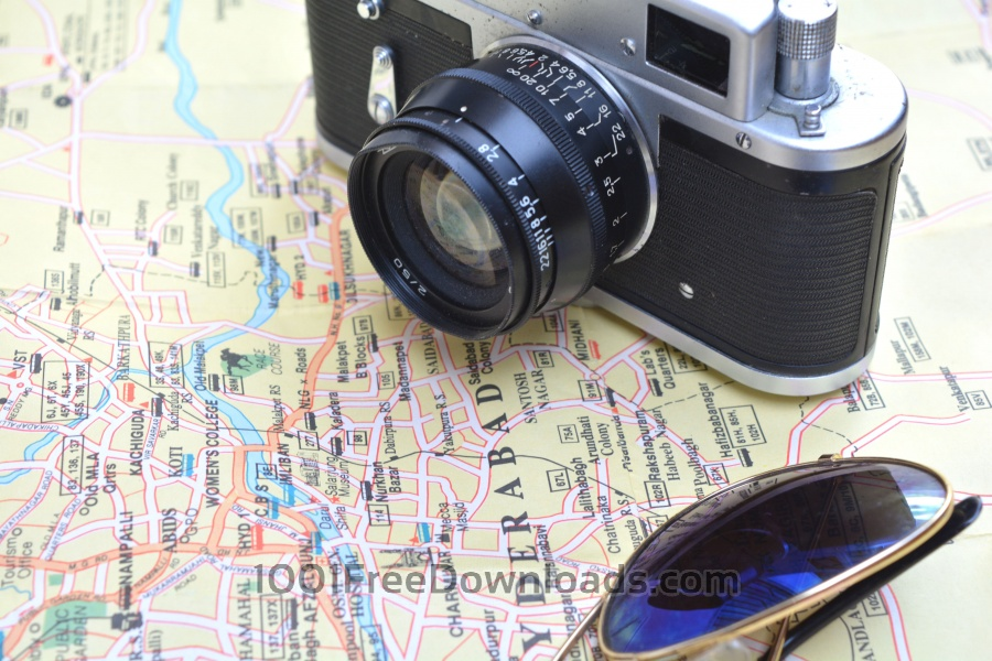 Free Photos: Vintage Camera on Map | Backgrounds