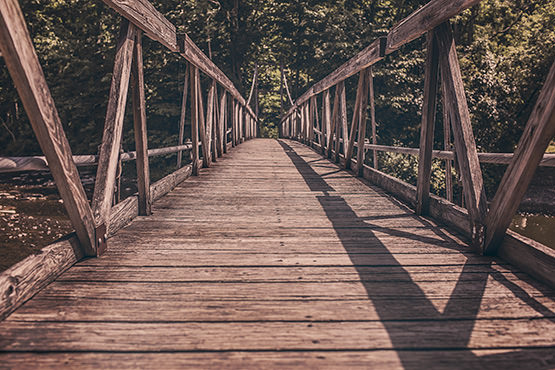 Free Wooden bridge over river