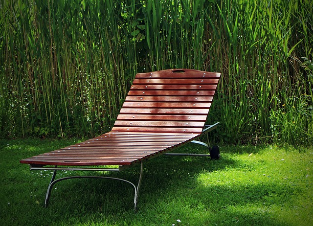 Free garden bed sun lounger wood lying liège rest