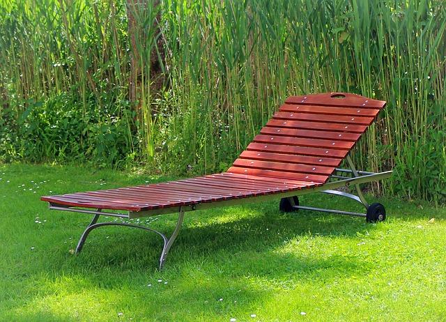 Free garden bed sun lounger wood lying liège rest