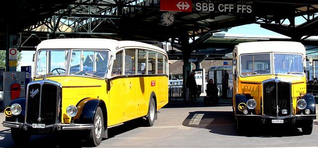 Free post cars oldtimer acid diesel bus railway station