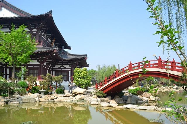 Free river bridge china building lake