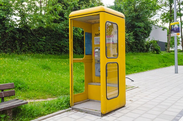 Free phone booth dispensary phone emergency call yellow