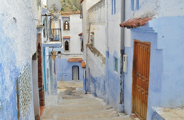 Free alley town old blue houses homes narrow ancient
