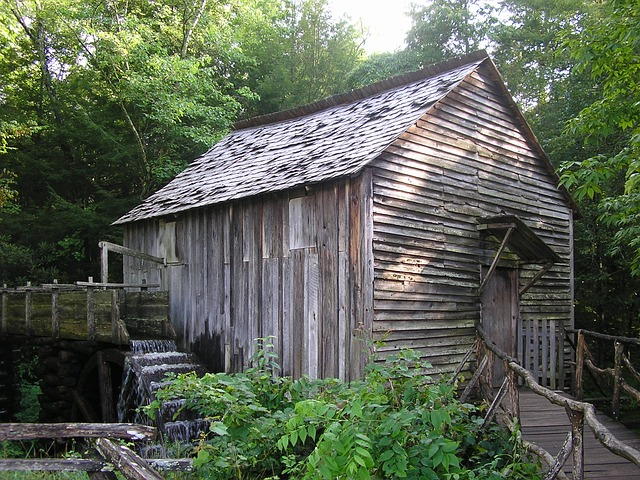Free watermill old building water tennessee wooden