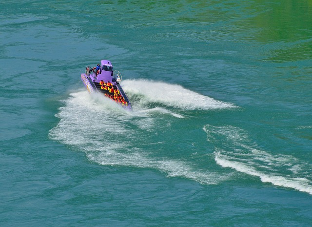 Free purple jet boat spinning waves niagara river