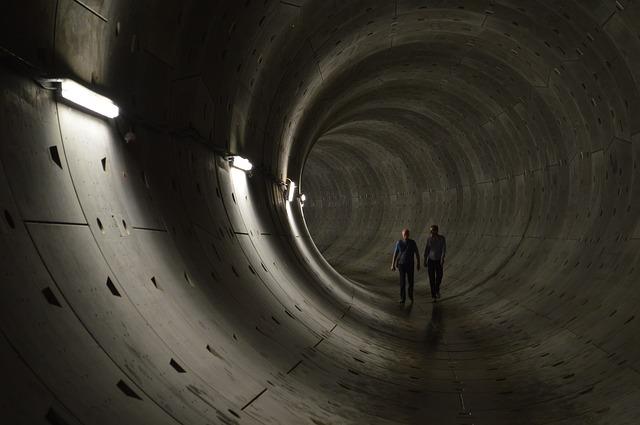 Free tunnel shaft dark lonely deep depth hiking two