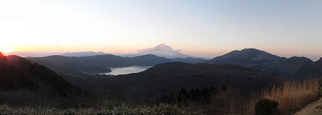Free hakone japan lake mountains mount fuji sunset