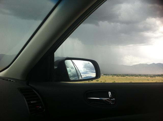 Free storm car reflection rain clouds