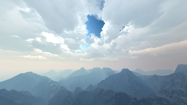 Free digital art computer graphic mountains clouds sky