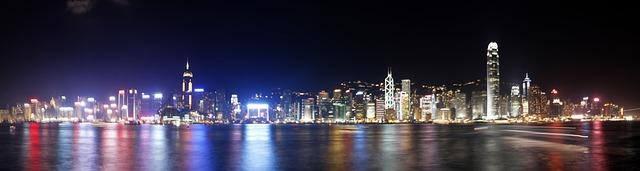 Free hong kong city night beautiful colorful water