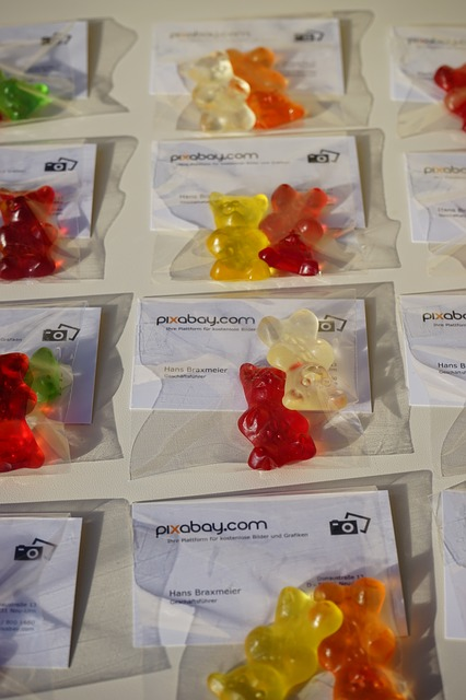 Free business cards presentation gift bags gummi bears