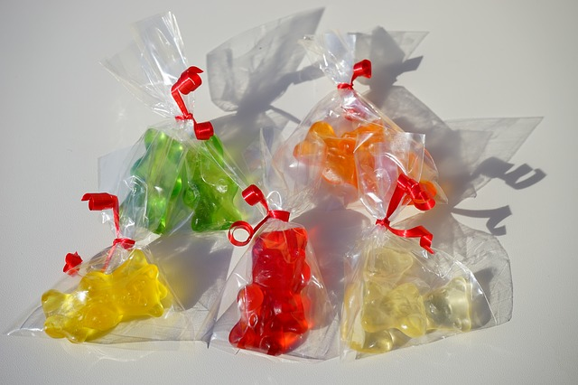 Free gold bears sachets gift packed cellophane