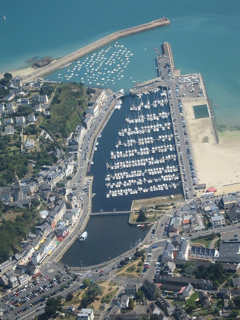 Free binic port sea aerial view plane view brittany