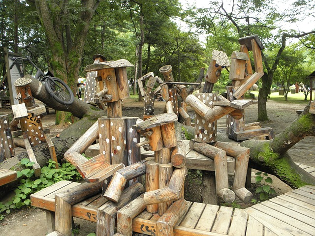 Free wood sculpture natural bench chair works nami
