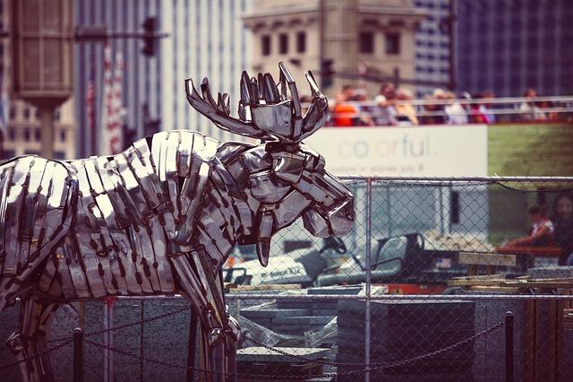 Free reindeer arts metal statue figur stag