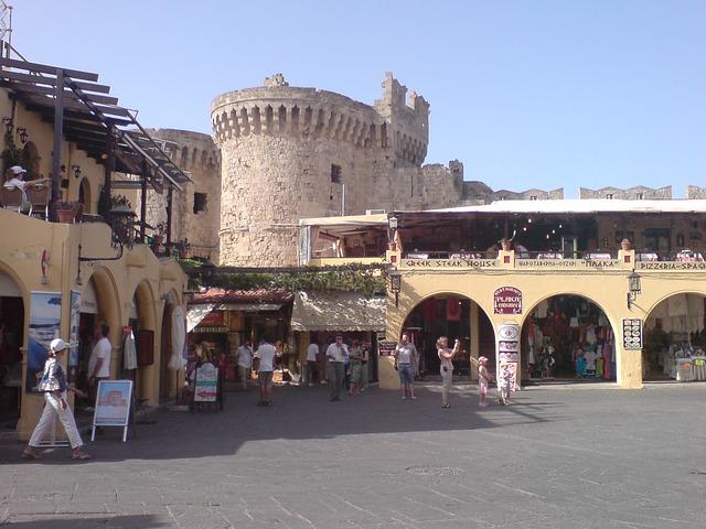 Free market square architecture rhodes greece historic