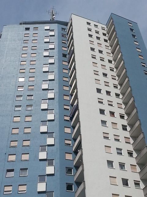 Free skyscraper building blue window perspective
