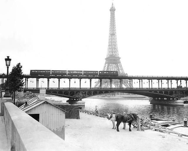 Free eiffel tower paris seine riverside city france