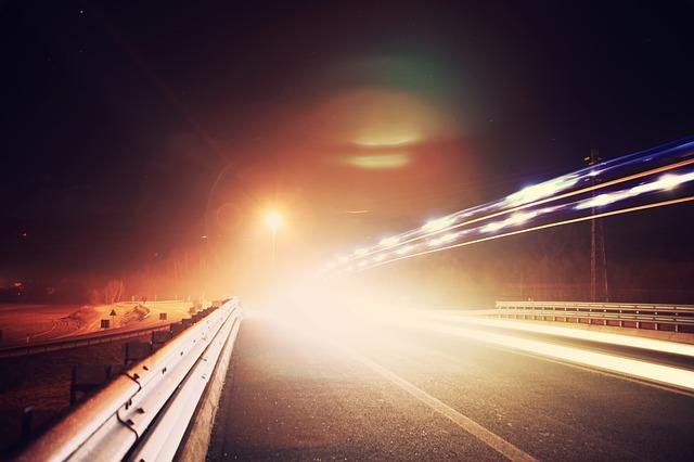 Free traffic night street road lights long exposure