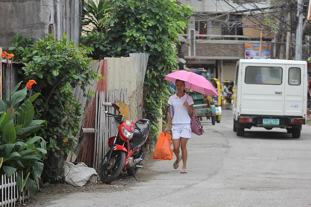 Free girl woman umbrella shopping boracay philippines