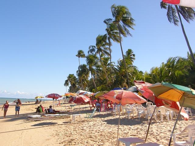 Free beach umbrella sky