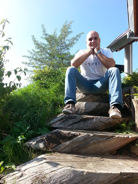 Free wooden ladders man sitting bald head