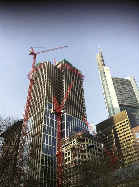Free frankfurt skyscrapers build crane scaffold baukran