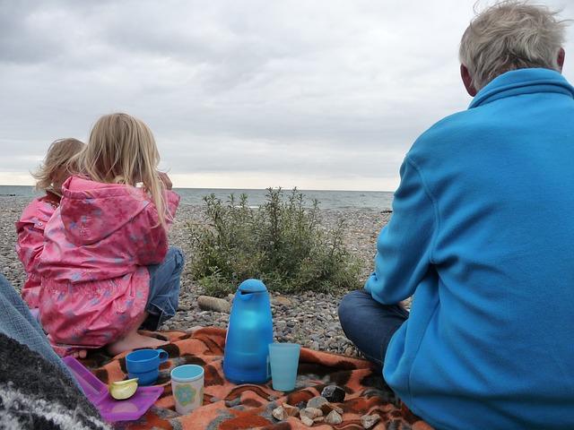 Free picnic baltic sea children papa sea rain clouds