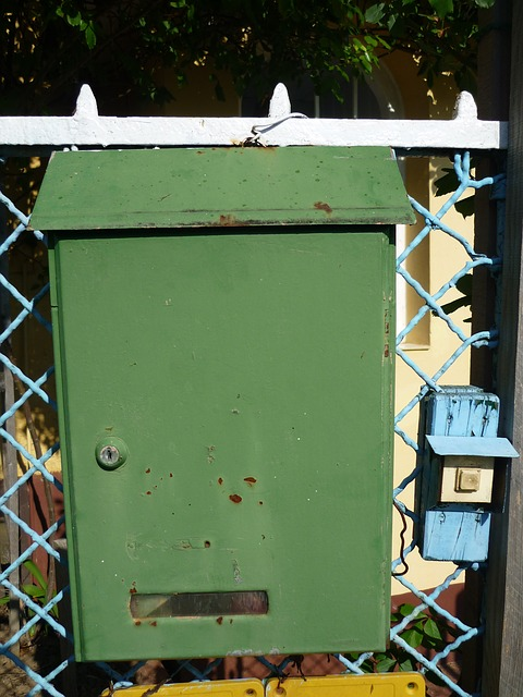 Free mailbox green old bell