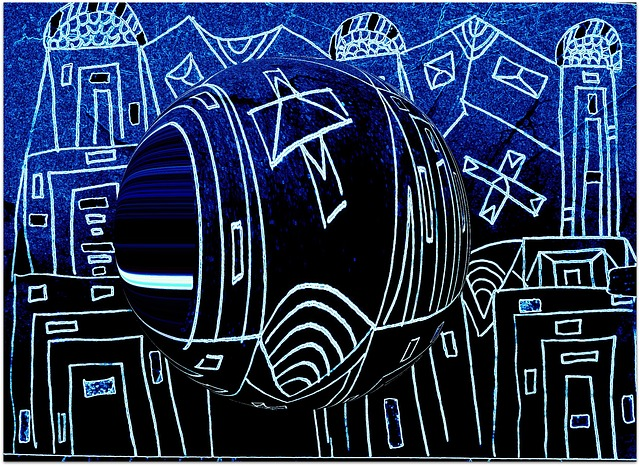 Free city art blue abstract