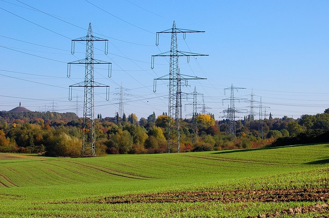 Free high-voltage pylons power poles field trees