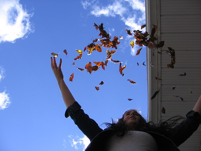 Free Photos: Leaves autumn fall throw happy girl woman | samnurse